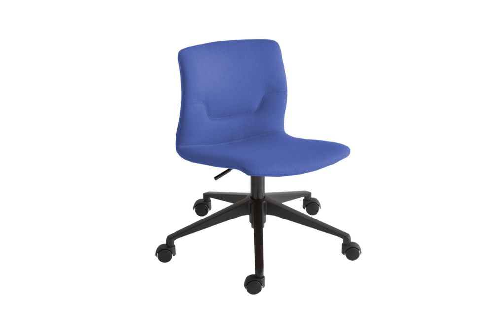 Polished Aluminium, Simil Leather Aurea 1,Gaber,Task Chairs,chair,cobalt blue,electric blue,furniture,line,material property,office chair