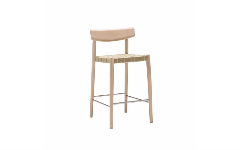Woven Finish 9974 Beige, Wood finish Beech 311,Andreu World,Stools,bar stool,beige,chair,furniture,stool,table