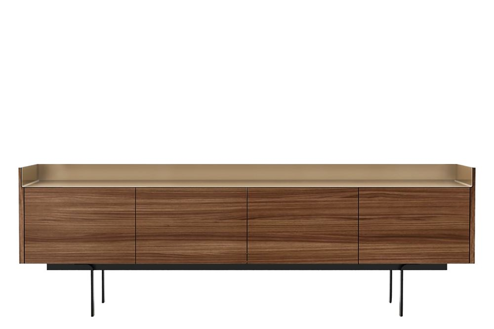 Dark Stained Walnut, Gold Anodised Aluminium, White RAL9016,Punt,Cabinets & Sideboards,furniture,rectangle,sideboard,table,wood
