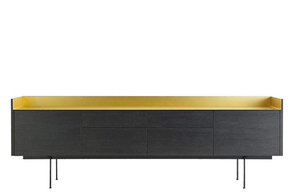 Dark Stained Walnut, Gold Anodised Aluminium, White RAL9016,Punt,Cabinets & Sideboards,desk,furniture,rectangle,sideboard,table