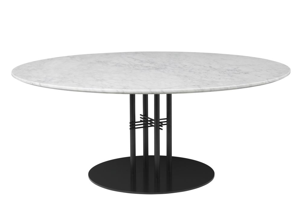 Gubi Marble Bianco Carrara, Gubi Metal Black, Ø 150,GUBI,Coffee & Side Tables,coffee table,end table,furniture,material property,outdoor table,table
