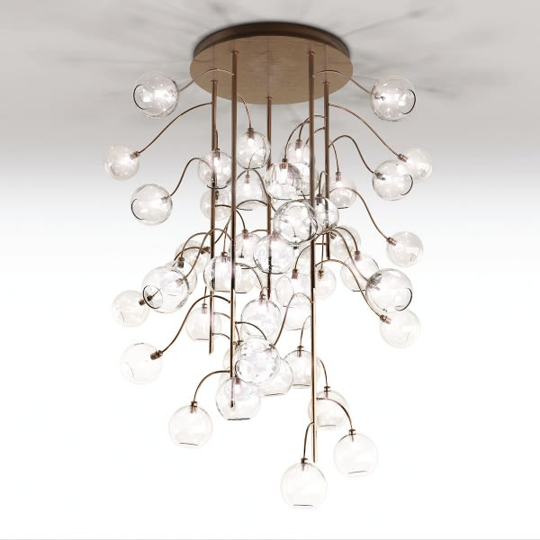 Ambra 30, Lumen Polished Brass,Lumen Center Italia,Chandeliers,ceiling,ceiling fixture,chandelier,chime,light fixture,lighting