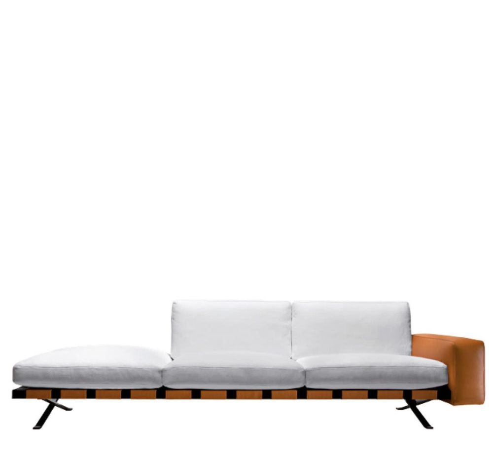 Colorado - Arancio 307, Cairo - Bianco 01, Right Linear Set,Driade,Seating,bed,chaise longue,couch,furniture,sofa bed,studio couch