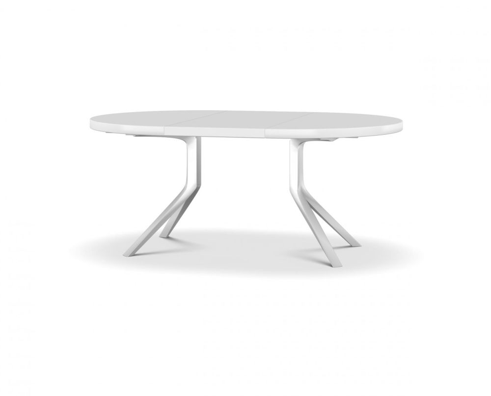L125-180 X D125, White lacquered aluminium, Satin-finish white lacquer, White,Kristalia,Tables & Desks,coffee table,end table,furniture,outdoor table,table,white