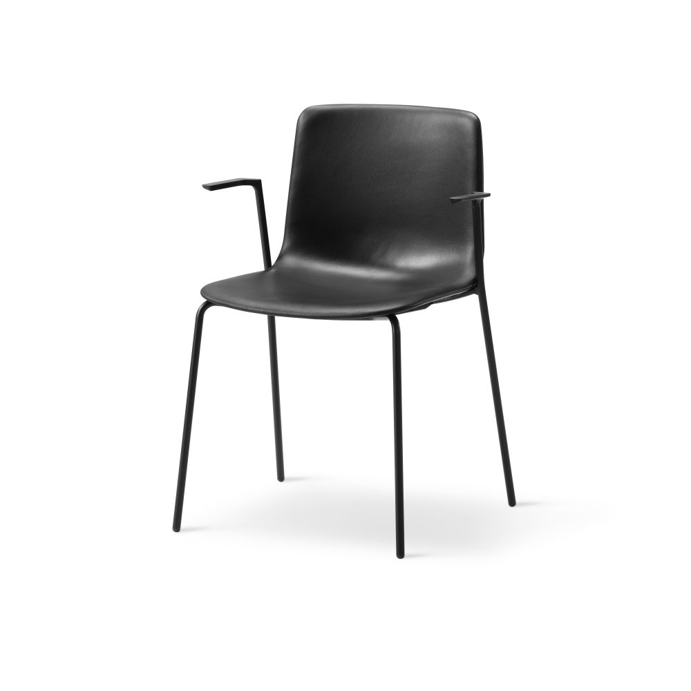 Chrome Steel, Remix 2 143,Fredericia,Seating,black,chair,furniture,leather