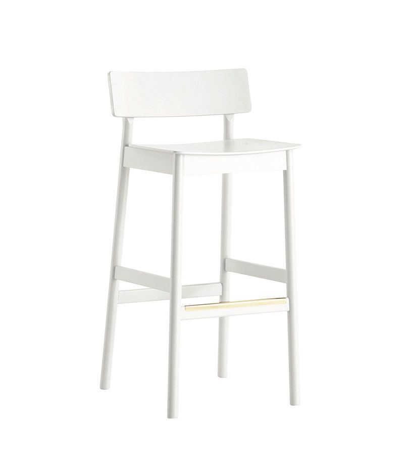 White pigmented lacquer oak,WOUD,Stools,bar stool,chair,furniture,stool,white