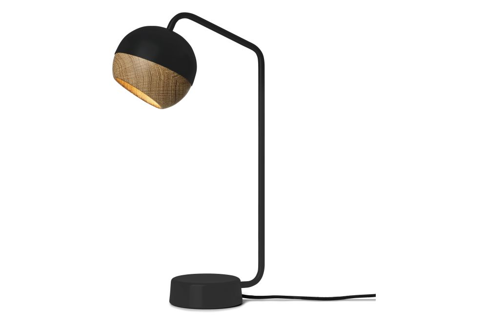 Black Painted Steel Frame & Natural Oak Shade,Mater,Table Lamps,lamp,light fixture,lighting