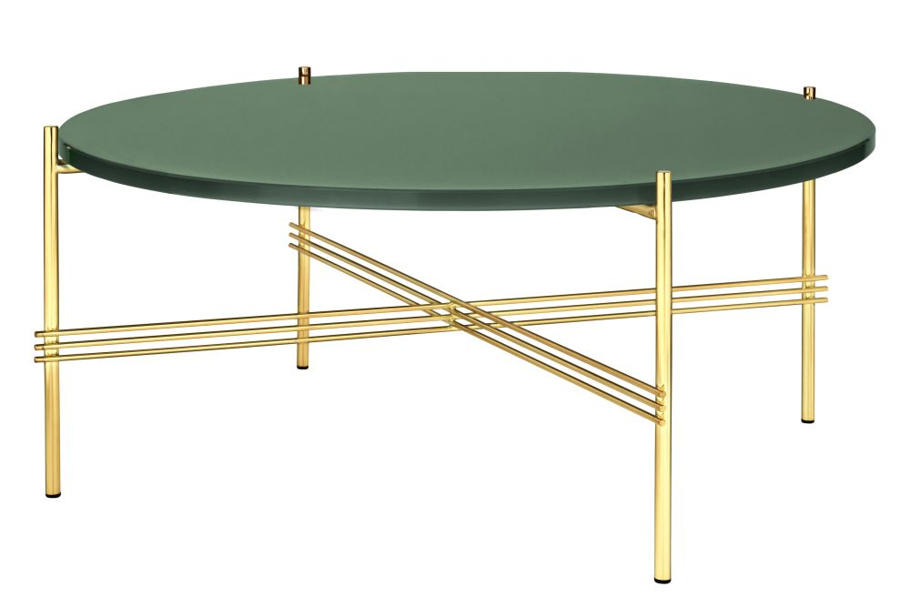 Ts Round Coffee Table With Glass Top Brass Frame From Gubi