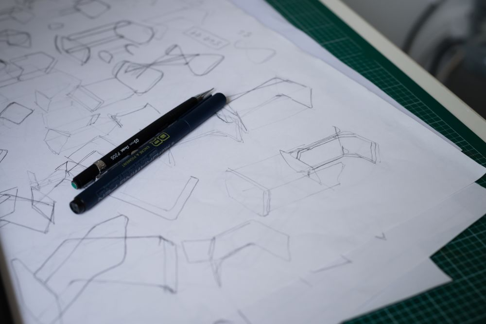 Graham makes hundreds of sketches for every project