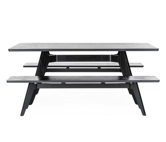 Lavitta rectangular table and bench by Poiat by Poiat