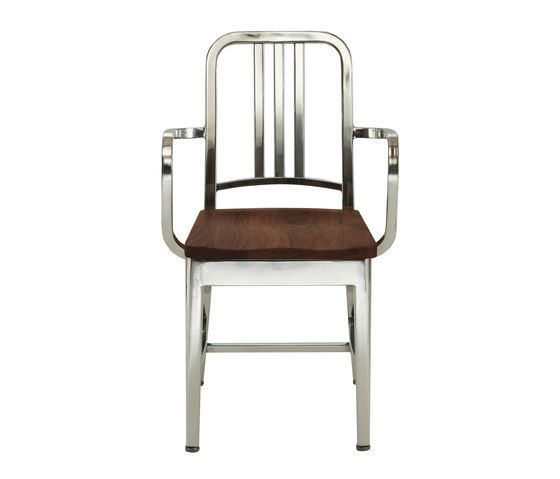 Navy Armchair with natural wood seat by Emeco