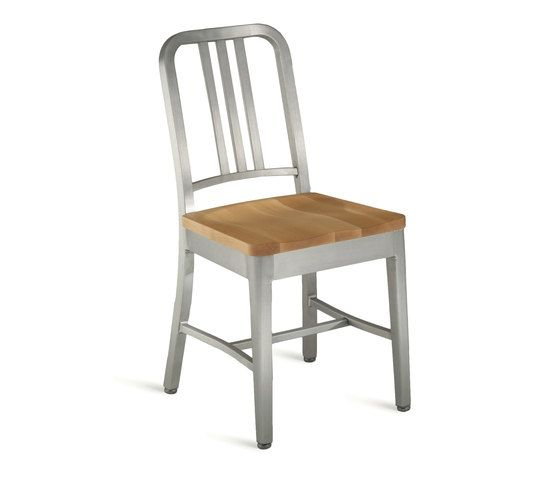 Navy Chair with natural wood seat by Emeco