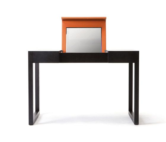 Rémy – Oak Stained, upholstered with orange calf leather by Wildspirit by Wildspirit