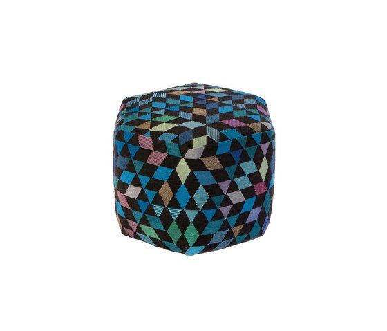 Triangles Pouf Diamond medallion blue-green high by GOLRAN 1898 by GOLRAN 1898