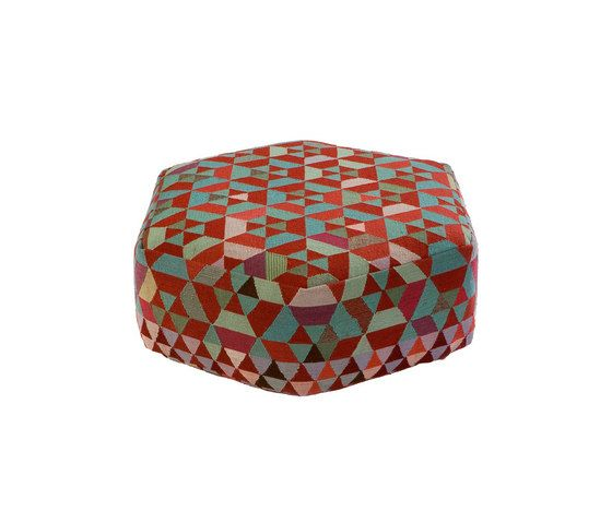 Triangles Pouf Trianglehex almond green low by GOLRAN 1898 by GOLRAN 1898