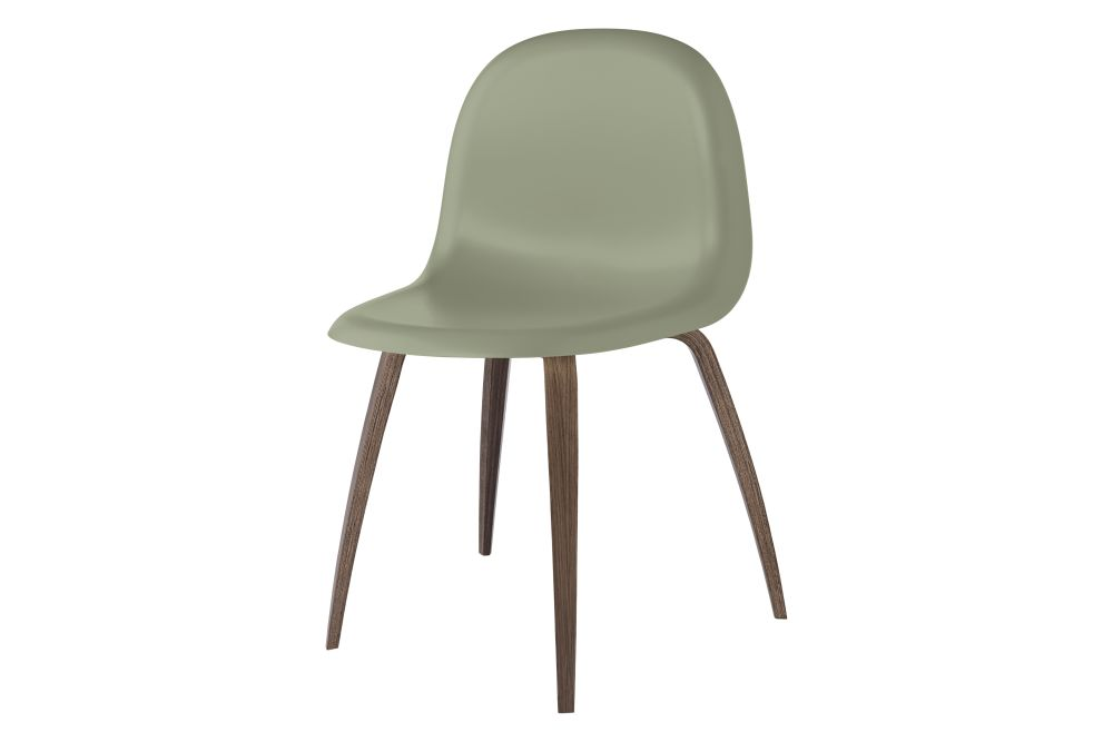 3D Un-Upholstered Wood Base Dining Chair by Gubi