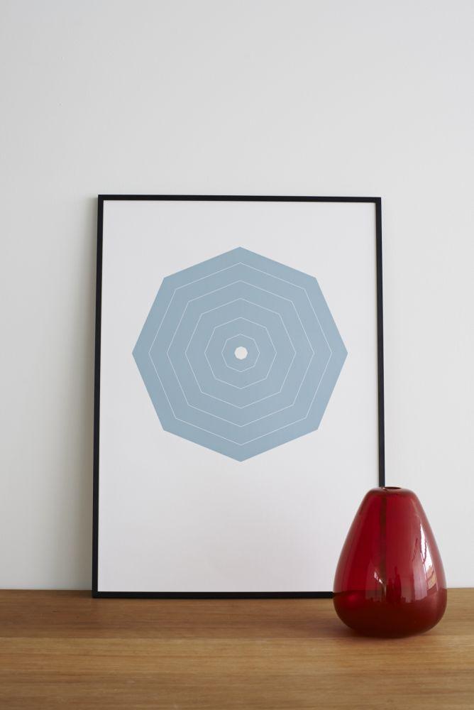Blue Octagon Screen Print by Lane