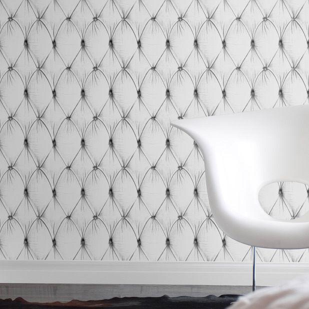 White Chesterfield Button Back Wallpaper