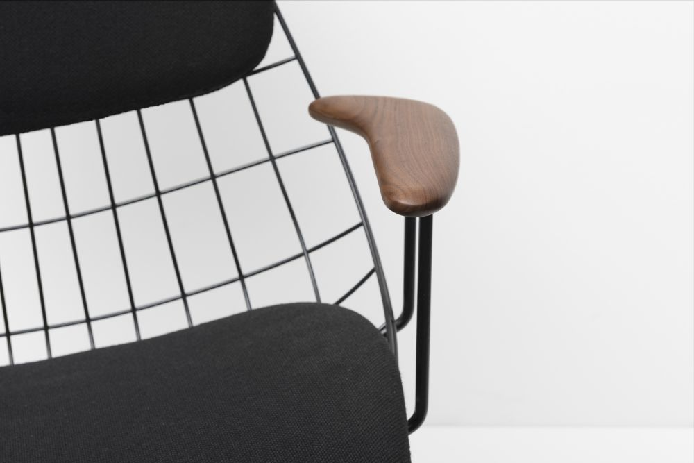 FM06 Dining Chair with Back Cushion, Night Black Frame and Solid Walnut Arms by Pastoe