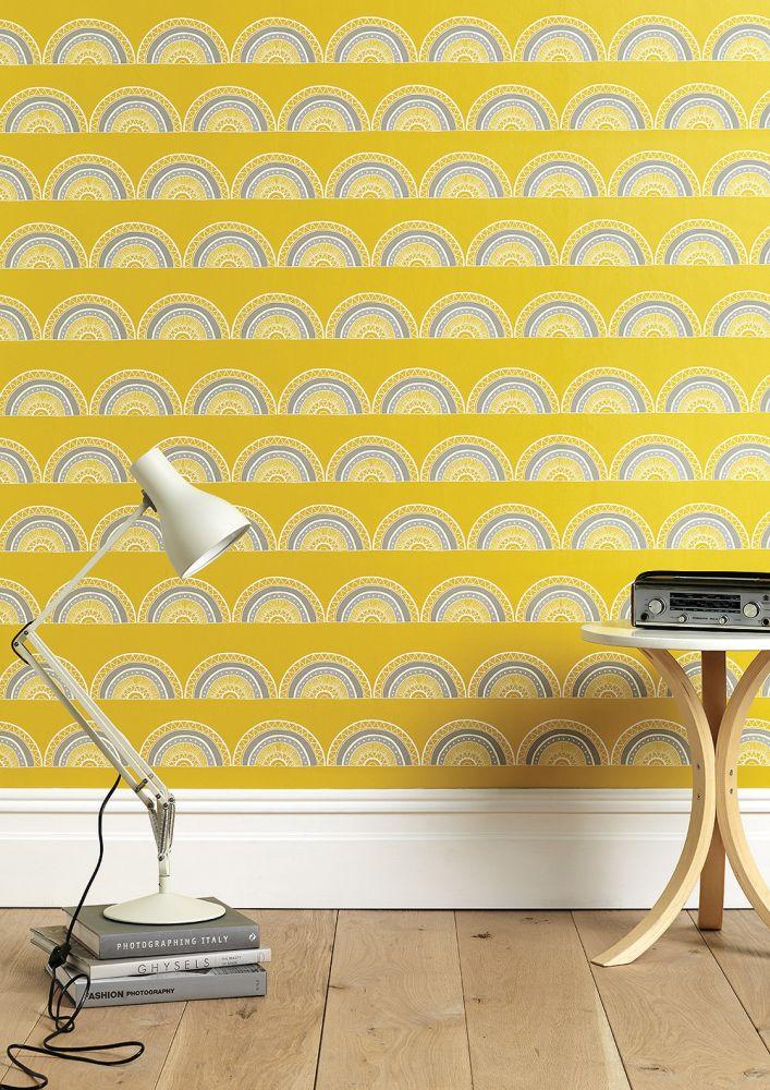Horseshoe Arch In Yellow Wallpaper by Sian Elin