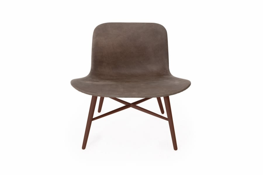 Langue Original Lounge Chair, Leather - Dark Stained by NORR11
