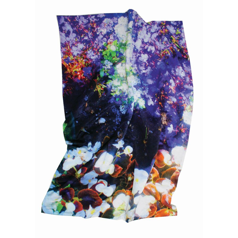 Luminous Lily & Violet Satin Bed Throw by Suzanne Goodwin