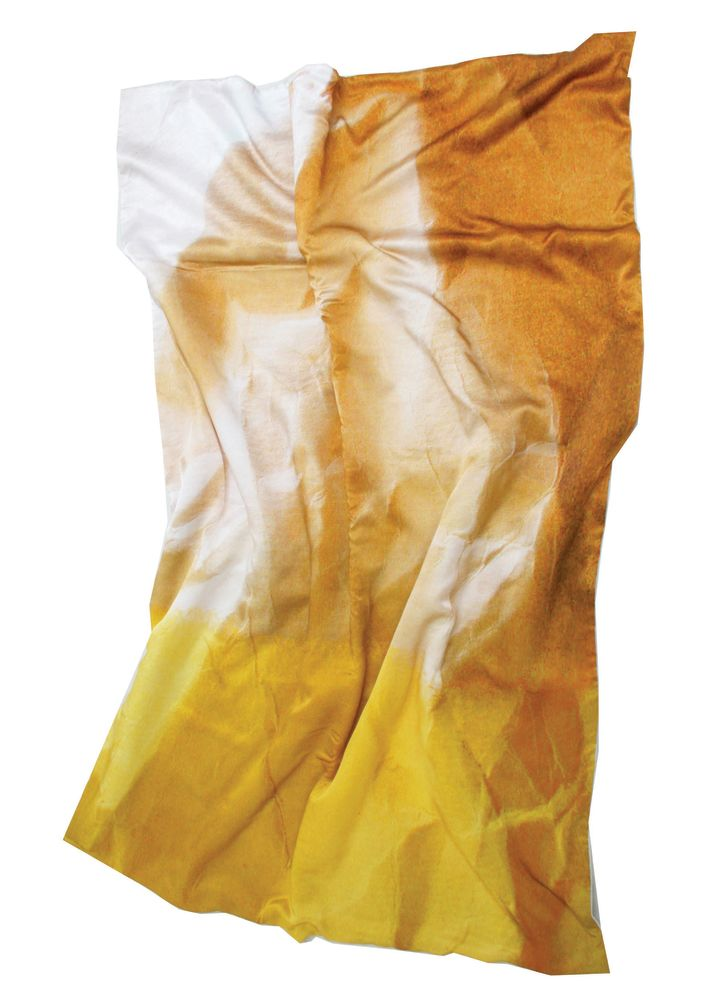 Mello Yellow Crinkled Paper Print Satin Bed Throw by Suzanne Goodwin