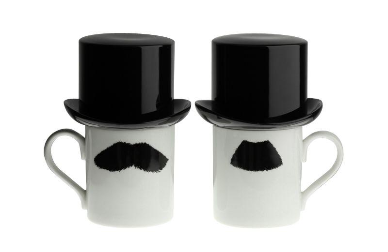 Mustafa Chaplin Moustache Mug with Sugar Bowl Top Hat by Peter Ibruegger Studio