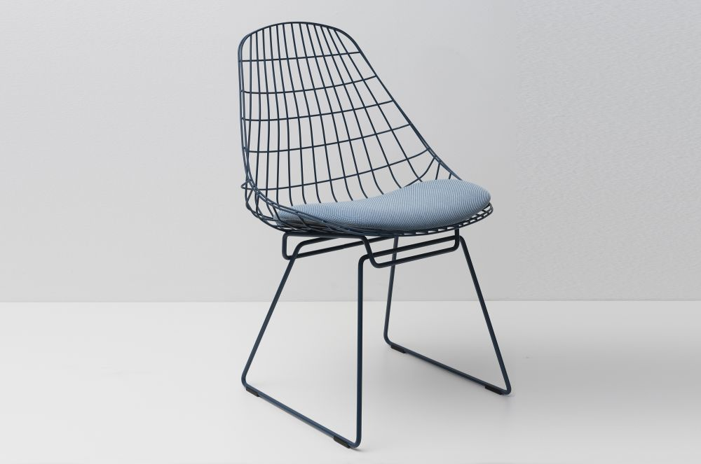 SM05 Dining Chair with Cushion, Pacific Blue Frame by Pastoe