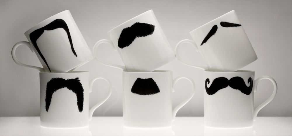 The Moustache Mugs Family by Peter Ibruegger Studio