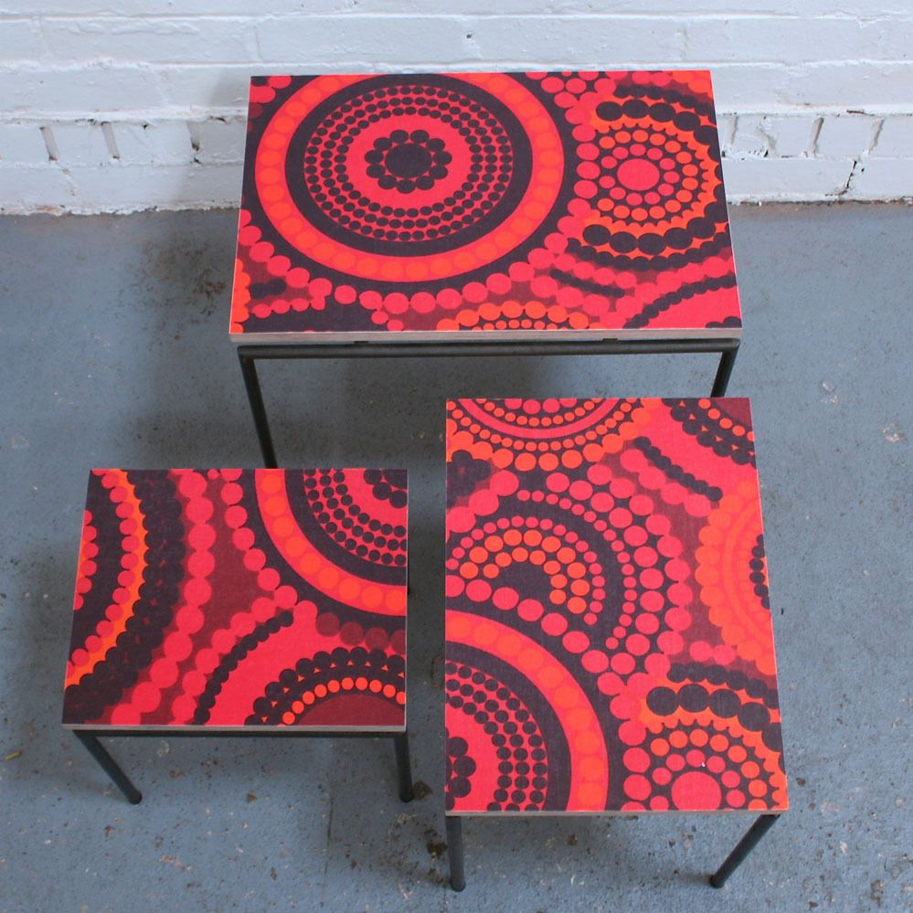 Vintage Fabric Nest of Tables by Winter's Moon