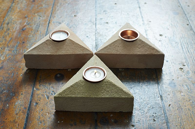 Sand Cast Brick Tea Light Holder - Set of 3 by Lane