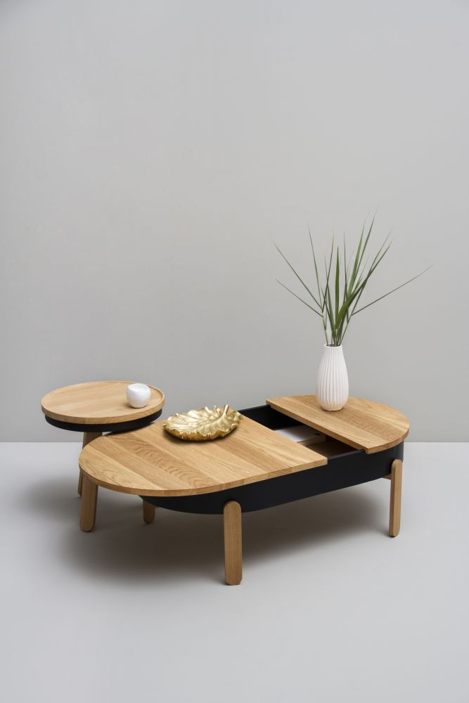 Batea L - Coffe table with storage by WOODENDOT