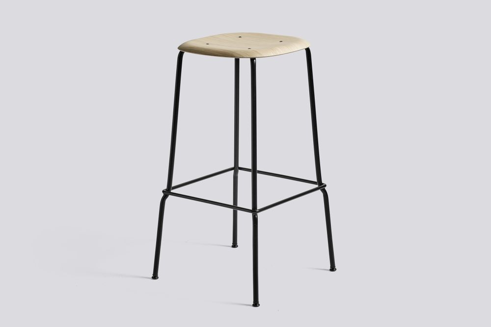 Soft Edge Bar Stool 30 with Metal Frame and Footrest by Hay