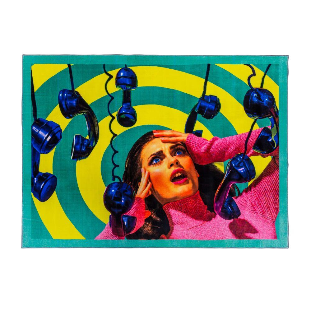 Toiletpaper Phone Rectangular Rug by Seletti