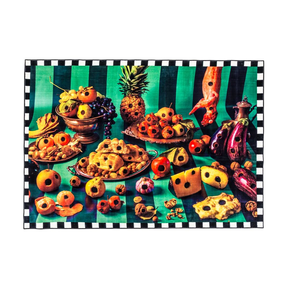 Toiletpaper Food With Holes Reactangular Rug by Seletti