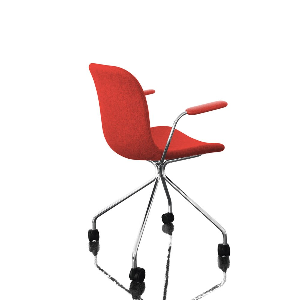 Troy Dining Chair with Armrests - 4 Star Base on Wheels - Fully Upholstered by Magis Design
