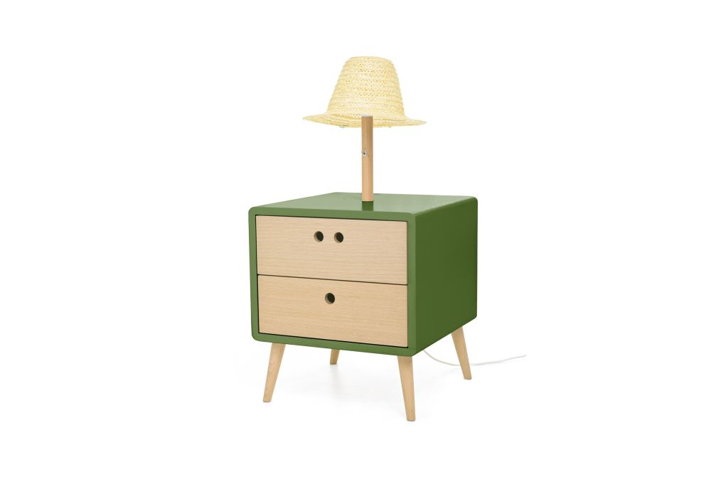 Nel Bedside Table & lamp  by Dam