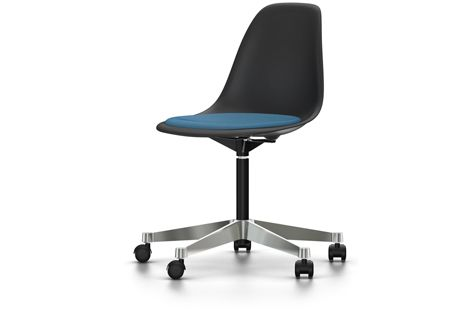 PSCC Eames Plastic Side Chair With Seat Upholstery by Vitra