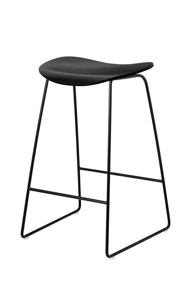 2D Counter Stool - Un-Upholstered, Sledge Base by Gubi