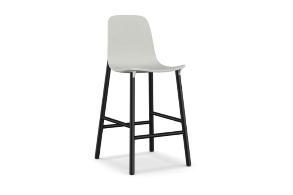 Sharky Alu Stool Highback - Aluminium Base With Seat Upholstery by Kristalia