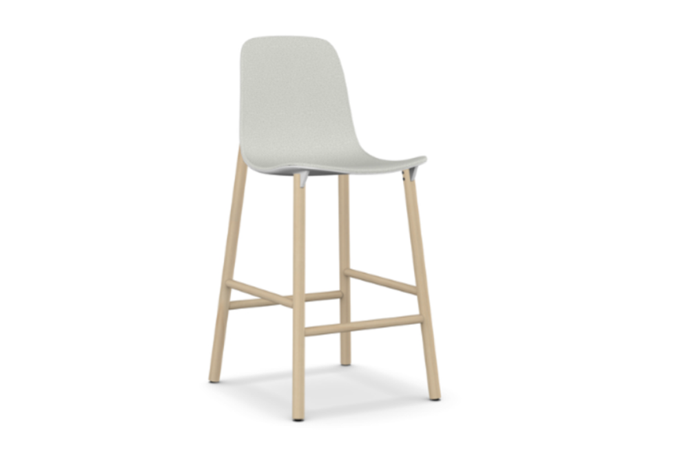 Sharky Stool Highback - Wooden Base With Seat Upholstery by Kristalia