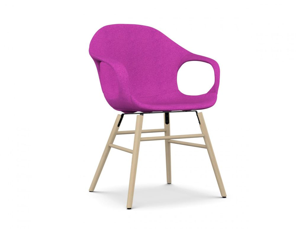 Elephant Wooden Base Armchair - Upholstered Seat by Kristalia