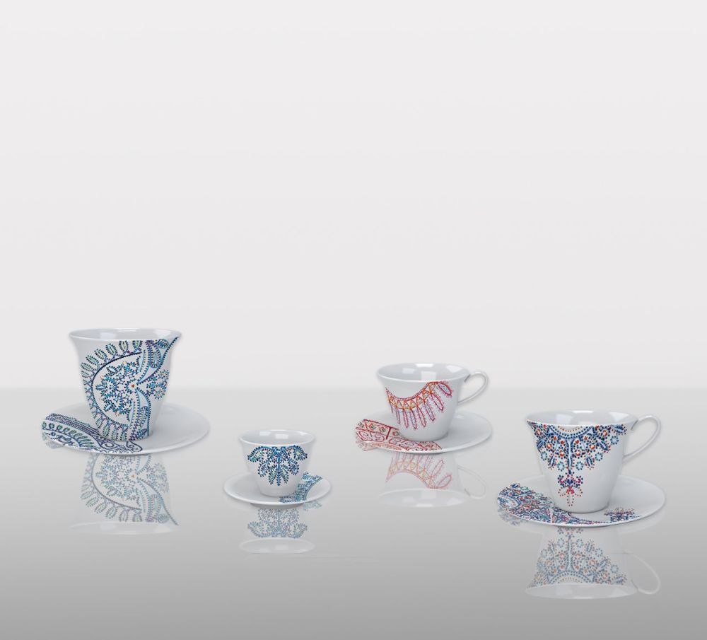 The White Snow Luminarie - Glass with Saucer Set of 6 by Driade