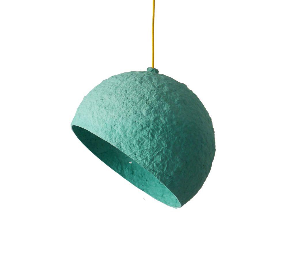 Globe Turuoise paper pulp lamp by Crea-Re Studio