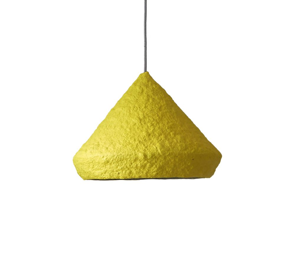 Paper pulp pendant lamp Mizuko Yellow by Crea-Re Studio