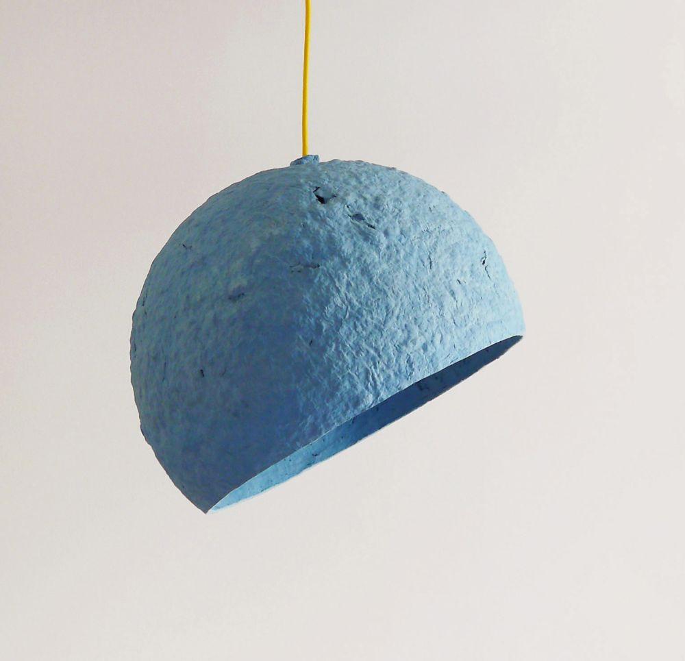 Globe Blue paper pulp lamp by Crea-Re Studio