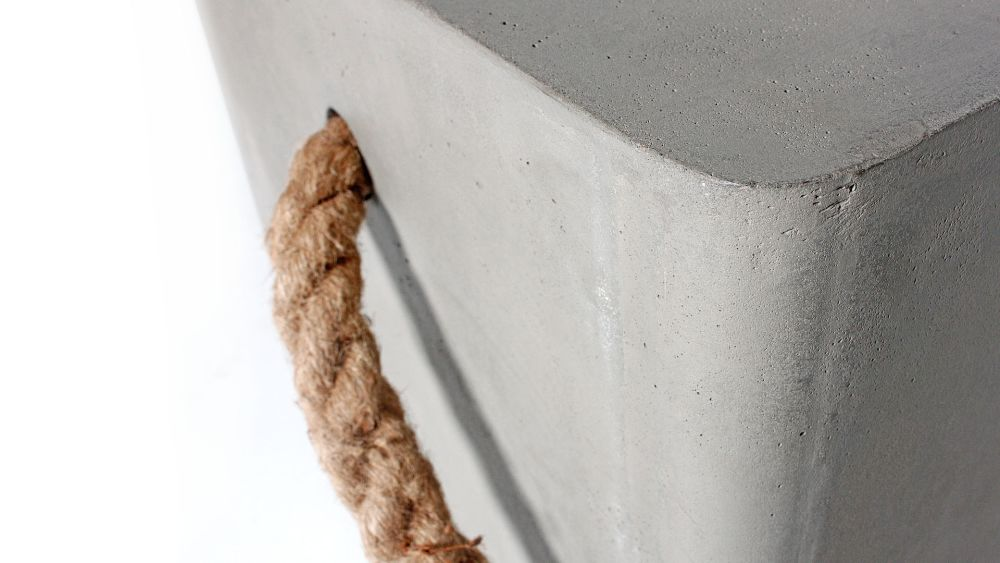 Concrete Soft Edge Stool with Wheels & Rope by Lyon Beton