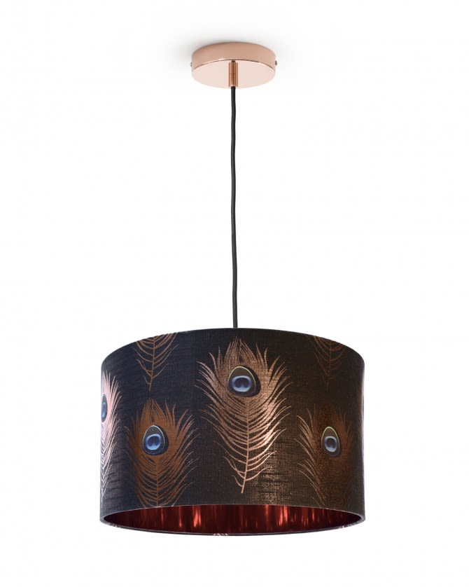 Peacock Feathers Drum Pendant Light by Mind The Gap
