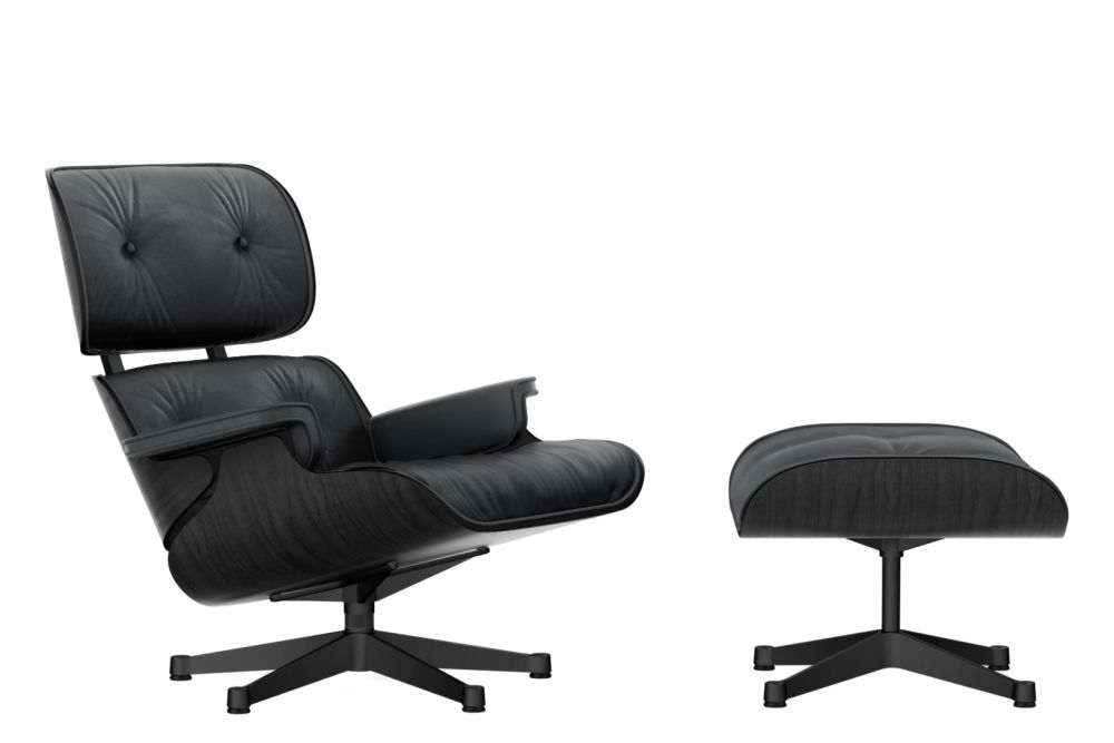 Vitra Chalres Eames : Vitra eames lounge chair & ottoman black ash shell leather premium